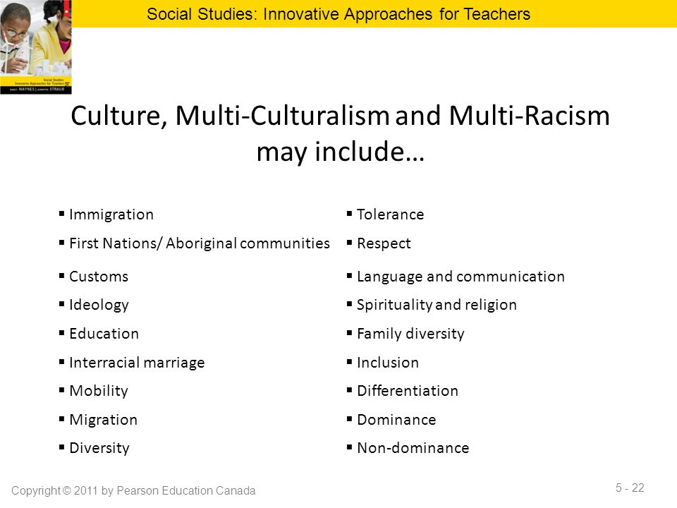 Culture, Multi-Culturalism and Multi-Racism may include… Social Studies: Innovative Approaches for Teachers Copyright © 2011 by Pearson Education Cana