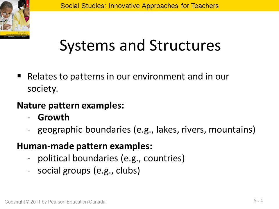 Systems and Structures  Relates to patterns in our environment and in our society. Nature pattern examples: -Growth -geographic boundaries (e.g., lak