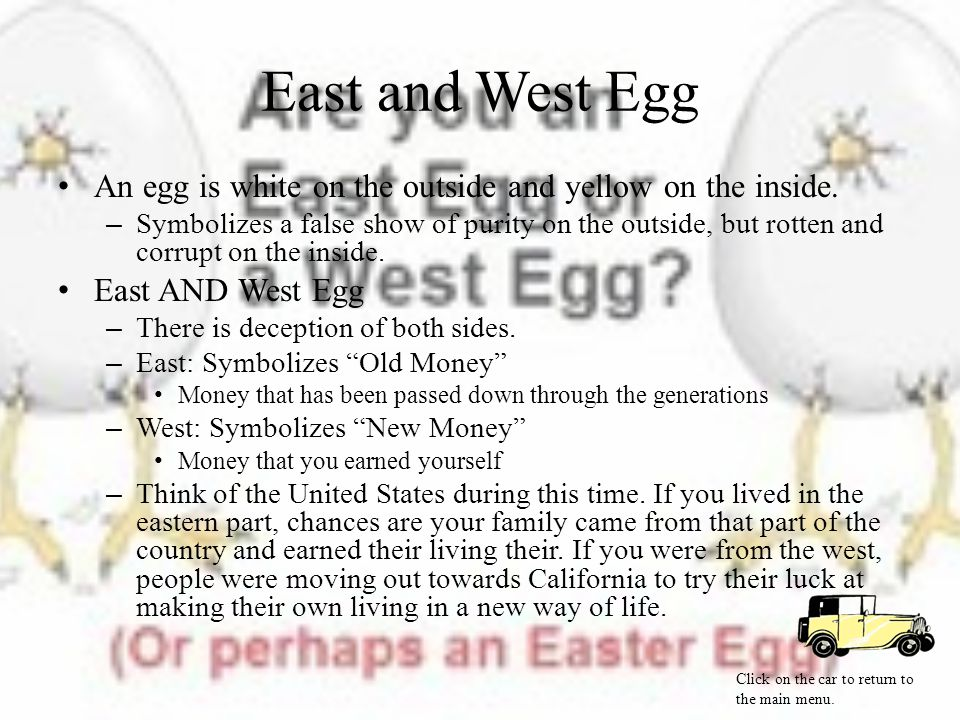 East and West Egg An egg is white on the outside and yellow on the inside.