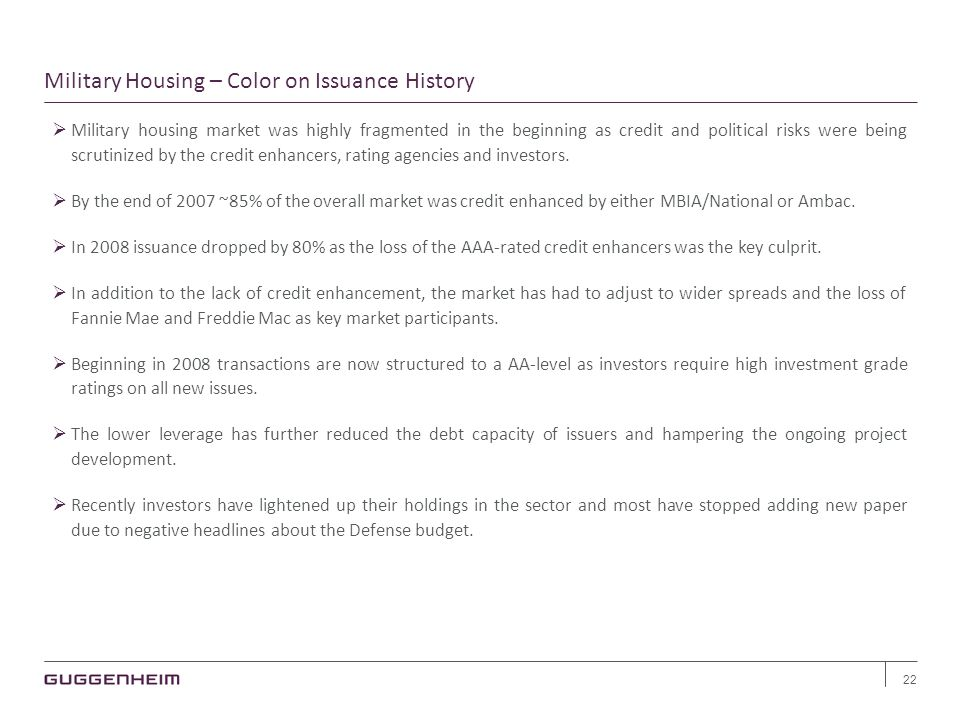 Military Housing – Color on Issuance History 22  Military housing market was highly fragmented in the beginning as credit and political risks were being scrutinized by the credit enhancers, rating agencies and investors.