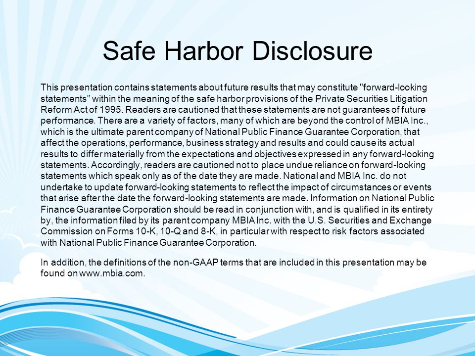 Safe Harbor Disclosure This presentation contains statements about future results that may constitute forward-looking statements within the meaning of the safe harbor provisions of the Private Securities Litigation Reform Act of 1995.