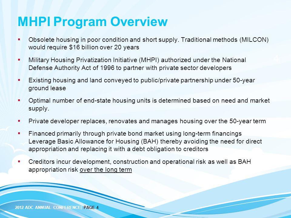 Military Housing Privatization Capital Markets Considerations August 7, 2012 Anita Molino, President, Bostonia Partners