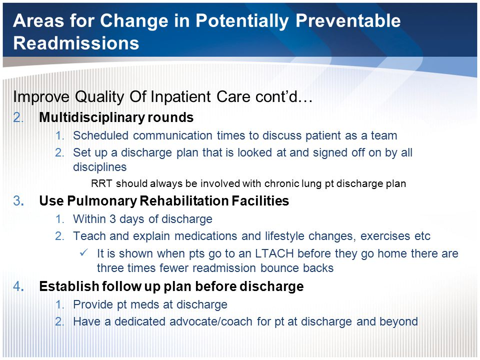 Areas for Change in Potentially Preventable Readmissions 5.