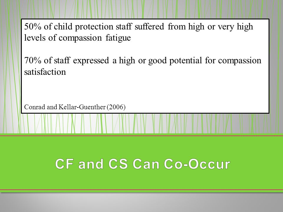 50% of child protection staff suffered from high or very high levels of compassion fatigue 70% of staff expressed a high or good potential for compass