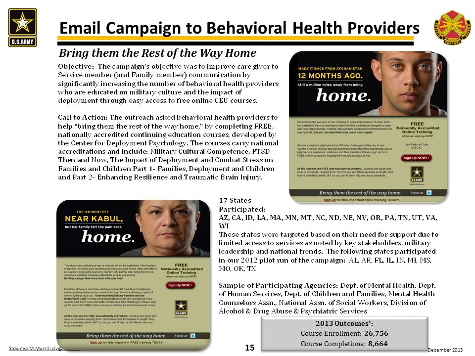 15 Shaunya.M.Murrill.civ@mail.milShaunya.M.Murrill.civ@mail.mil / 210-792-3449 December 2013 Email Campaign to Behavioral Health Providers 2013 Outcomes * : Course Enrollment: 26,756 Course Completions: 8,664 2013 Outcomes * : Course Enrollment: 26,756 Course Completions: 8,664 Bring them the Rest of the Way Home