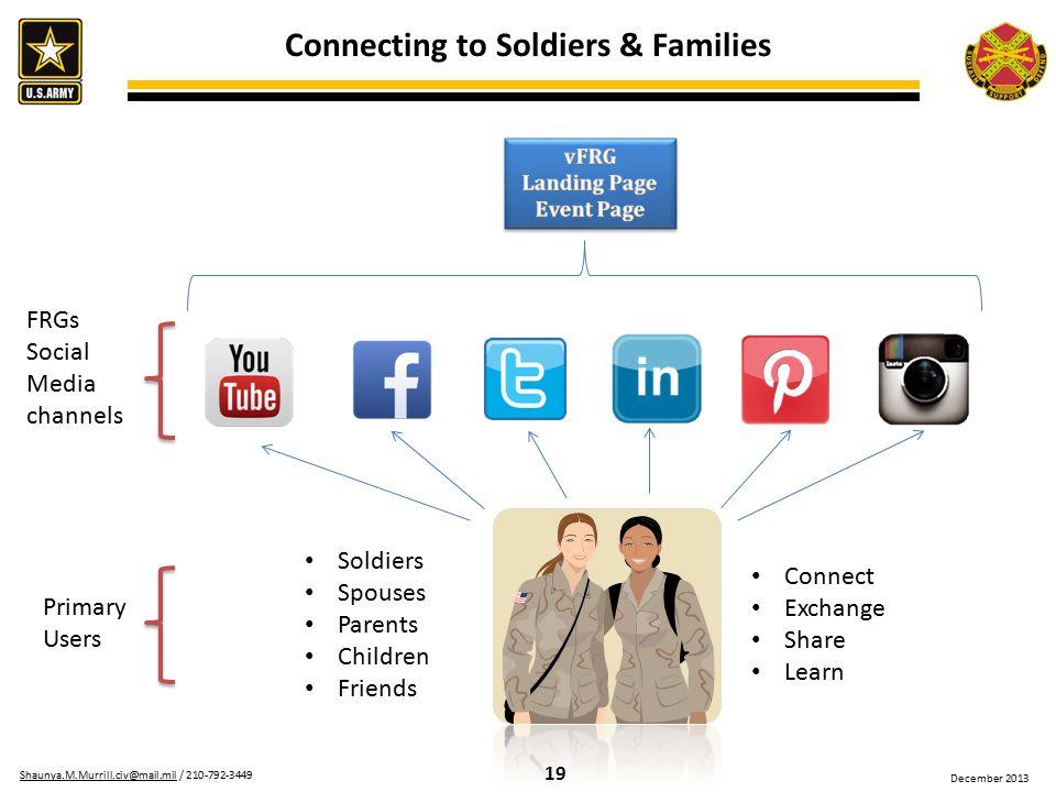 19 Shaunya.M.Murrill.civ@mail.milShaunya.M.Murrill.civ@mail.mil / 210-792-3449 December 2013 Connecting to Soldiers & Families FRGs Social Media chann