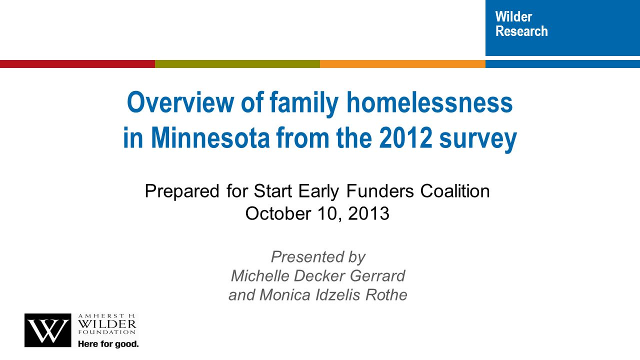 Adults (18+) Homeless parents MN 9%1%American Indian 2%3%Asian American 50%5%Black 30%86% White (non-Hispanic) 9%3% Other, including multi-racial 8%4% Hispanic (any race) Parents: racial disparities wilderresearch.org