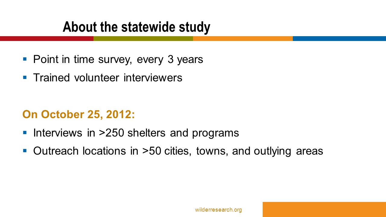  92% of parents had been homeless at least a month  9% had spent at least one night outside/car etc.