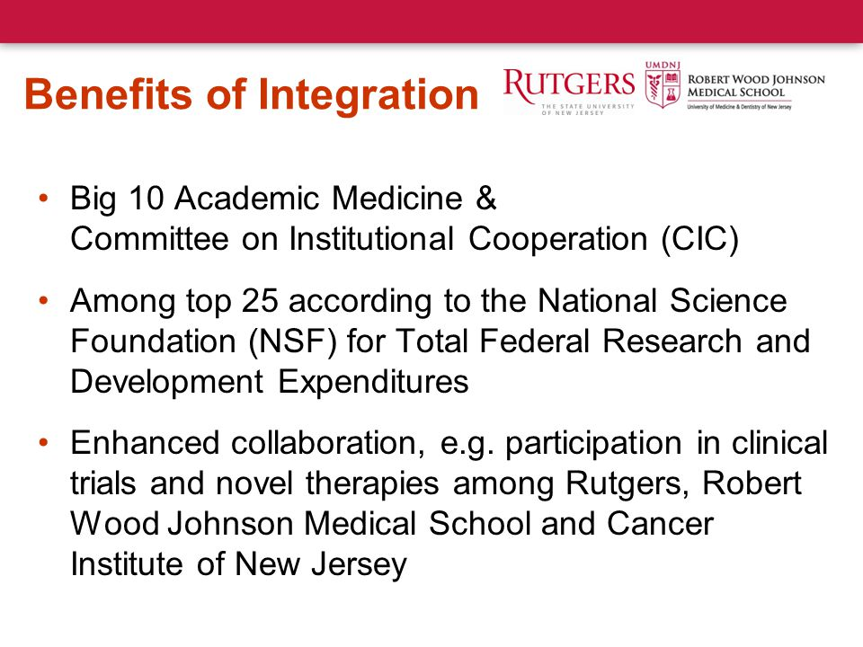 Benefits of Integration Big 10 Academic Medicine & Committee on Institutional Cooperation (CIC) Among top 25 according to the National Science Foundation (NSF) for Total Federal Research and Development Expenditures Enhanced collaboration, e.g.
