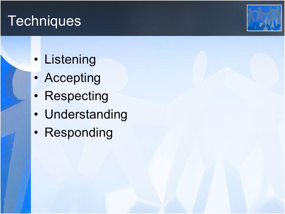 Techniques Listening Accepting Respecting Understanding Responding