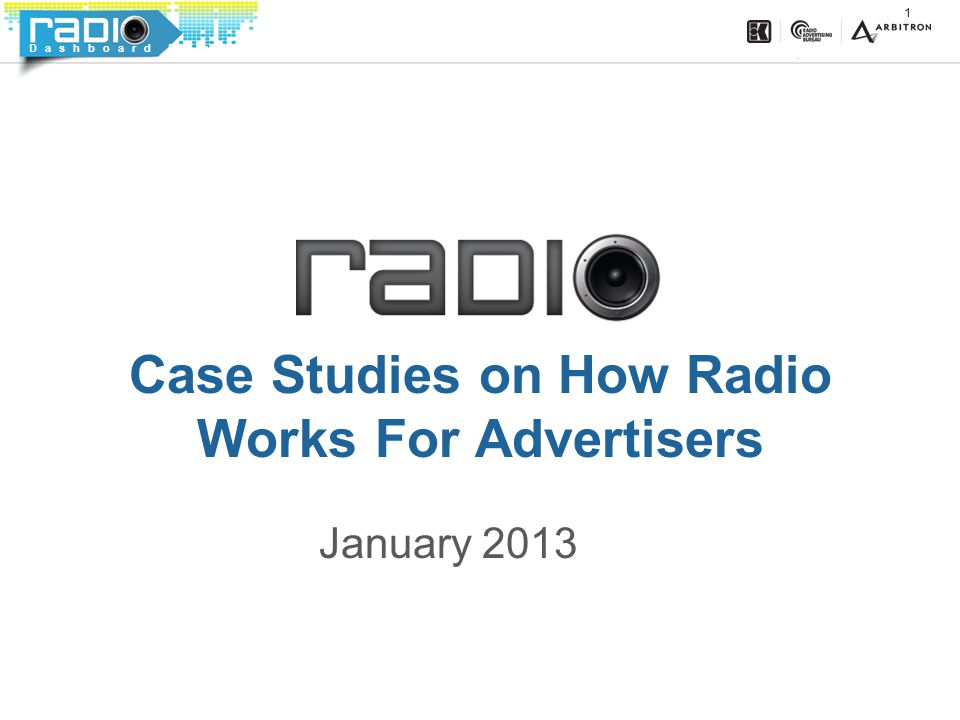 Dashboard Dominance 1 Case Studies on How Radio Works For Advertisers January 2013