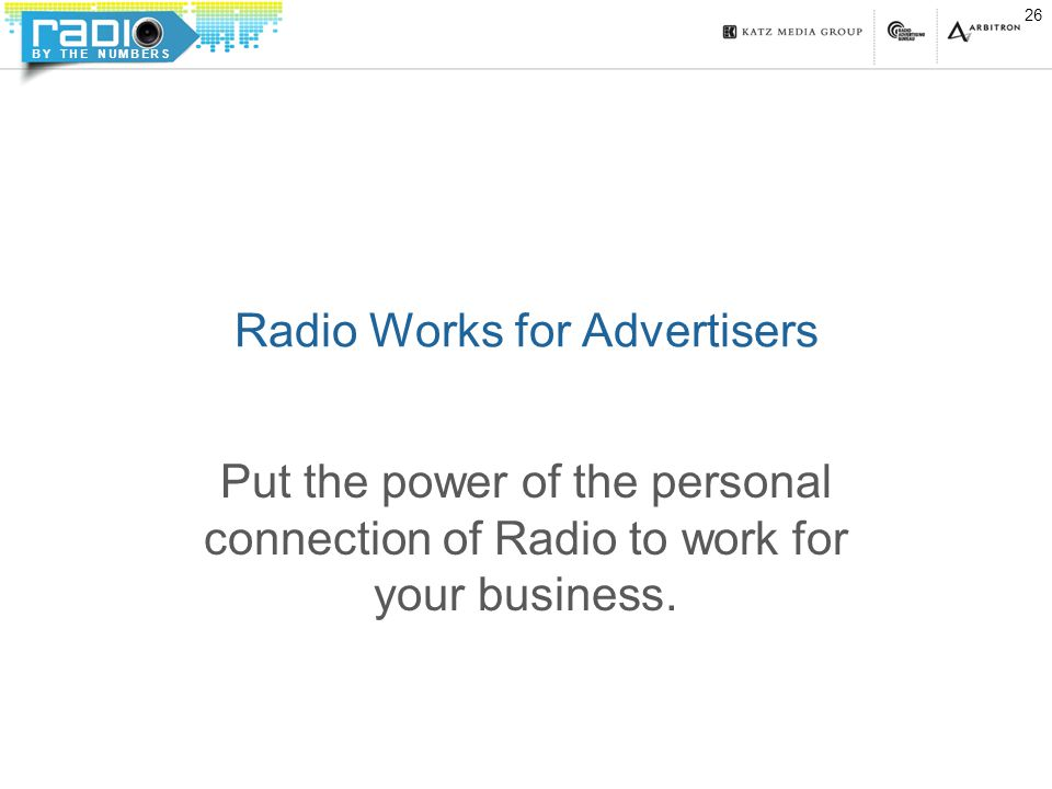 BY THE NUMBERS Radio Works for Advertisers Put the power of the personal connection of Radio to work for your business.