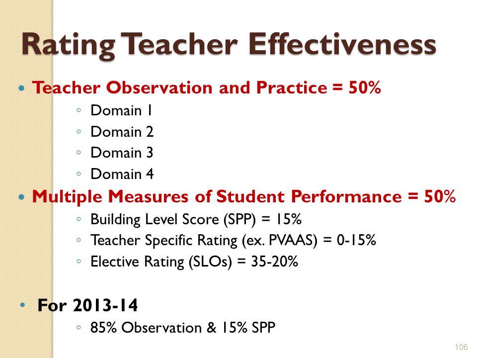 106 Rating Teacher Effectiveness Teacher Observation and Practice = 50% ◦ Domain 1 ◦ Domain 2 ◦ Domain 3 ◦ Domain 4 Multiple Measures of Student Performance = 50% ◦ Building Level Score (SPP) = 15% ◦ Teacher Specific Rating (ex.
