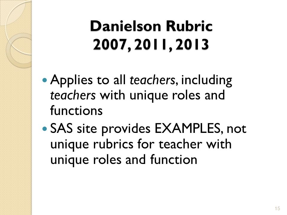 Danielson Rubric 2007, 2011, 2013 Applies to all teachers, including teachers with unique roles and functions SAS site provides EXAMPLES, not unique rubrics for teacher with unique roles and function 15