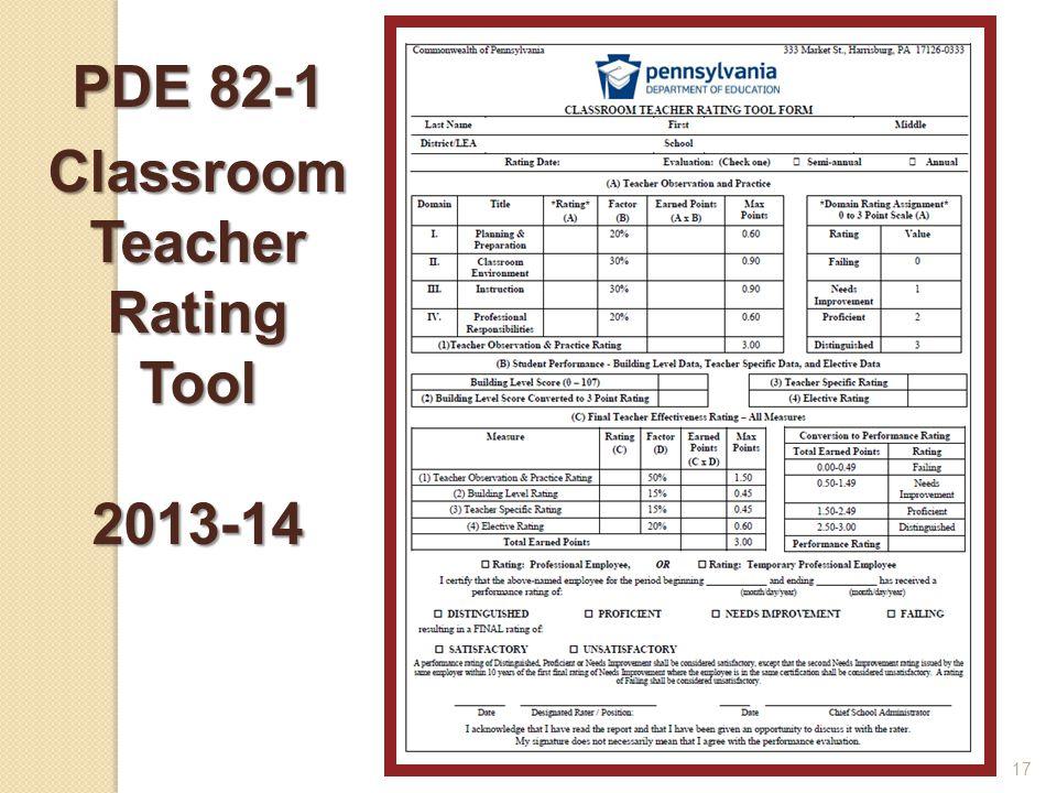 17 PDE 82-1 ClassroomTeacherRatingTool2013-14