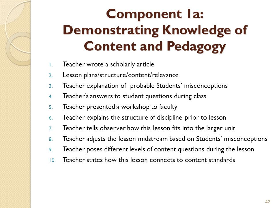 Component 1a: Demonstrating Knowledge of Content and Pedagogy 1.
