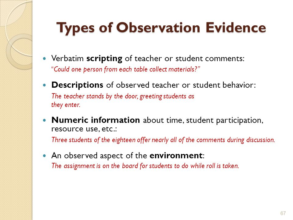 Types of Observation Evidence Verbatim scripting of teacher or student comments: Could one person from each table collect materials? Descriptions of observed teacher or student behavior: The teacher stands by the door, greeting students as they enter.