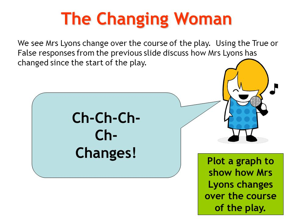 We see Mrs Lyons change over the course of the play. Using the True or False responses from the previous slide discuss how Mrs Lyons has changed since