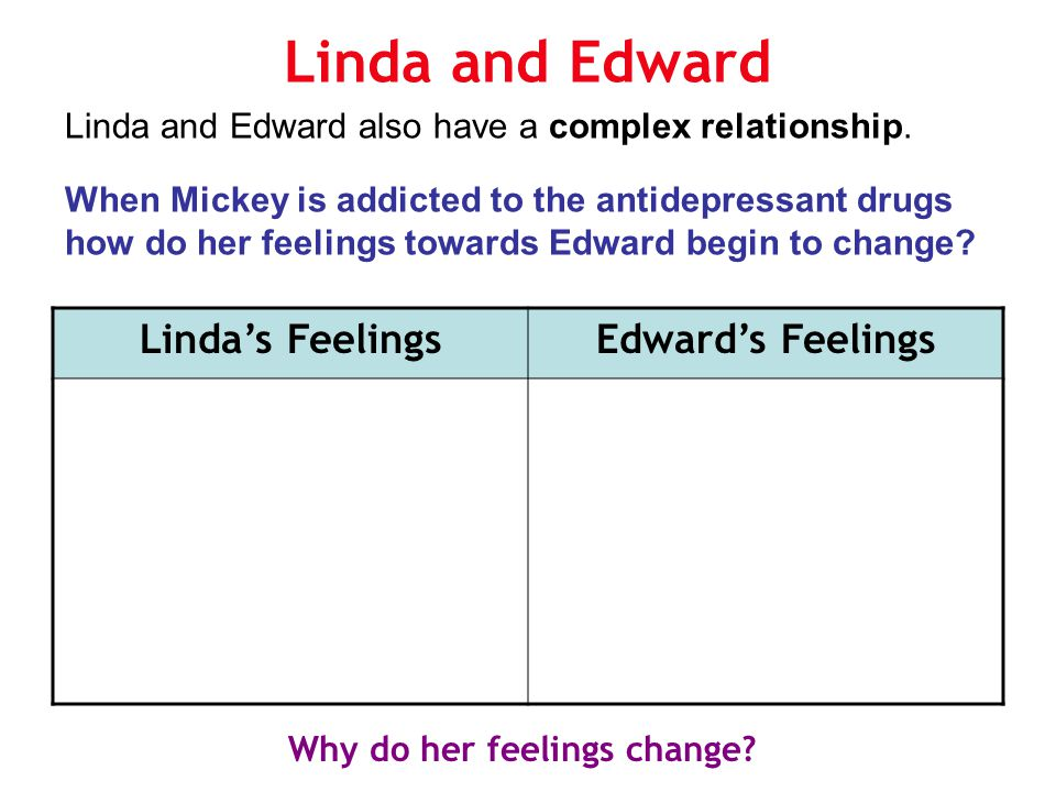 Linda and Edward Linda and Edward also have a complex relationship. When Mickey is addicted to the antidepressant drugs how do her feelings towards Ed