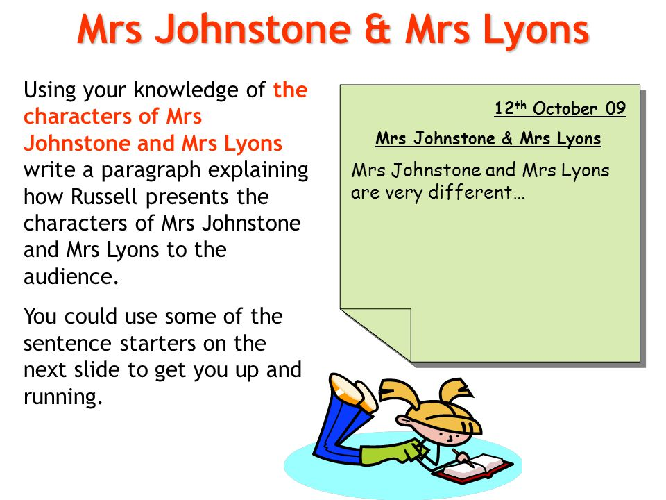 Using your knowledge of the characters of Mrs Johnstone and Mrs Lyons write a paragraph explaining how Russell presents the characters of Mrs Johnston