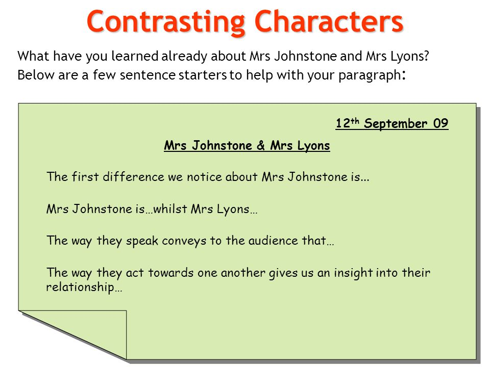 Contrasting Characters What have you learned already about Mrs Johnstone and Mrs Lyons? Below are a few sentence starters to help with your paragraph