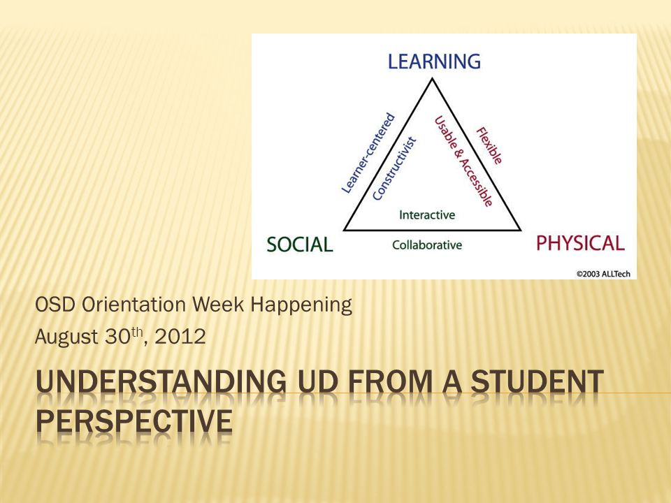 OSD Orientation Week Happening August 30 th, 2012