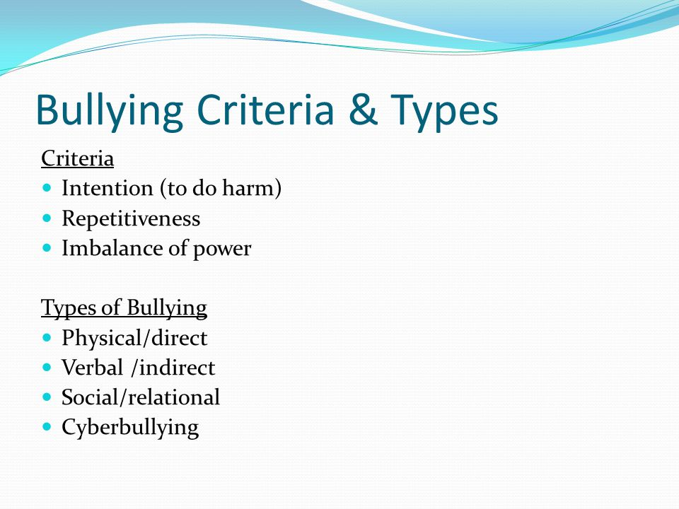 Bullying Characteristics Bullies: more aggressive, easy to anger, poor interpreter of others, interpret ambiguous stimuli w/ fear, lack empathy, high social intelligence Bully victims: overacceptance of personal weaknesses, poor self-concept, inadequacy, self-blame Bully victim subtypes: Submissive/passive victim – anxious, negative self- image, socially isolated, internalizer Provocative/aggressive victim – anxious, negative self- image, social isolation, internalizer & externalizer