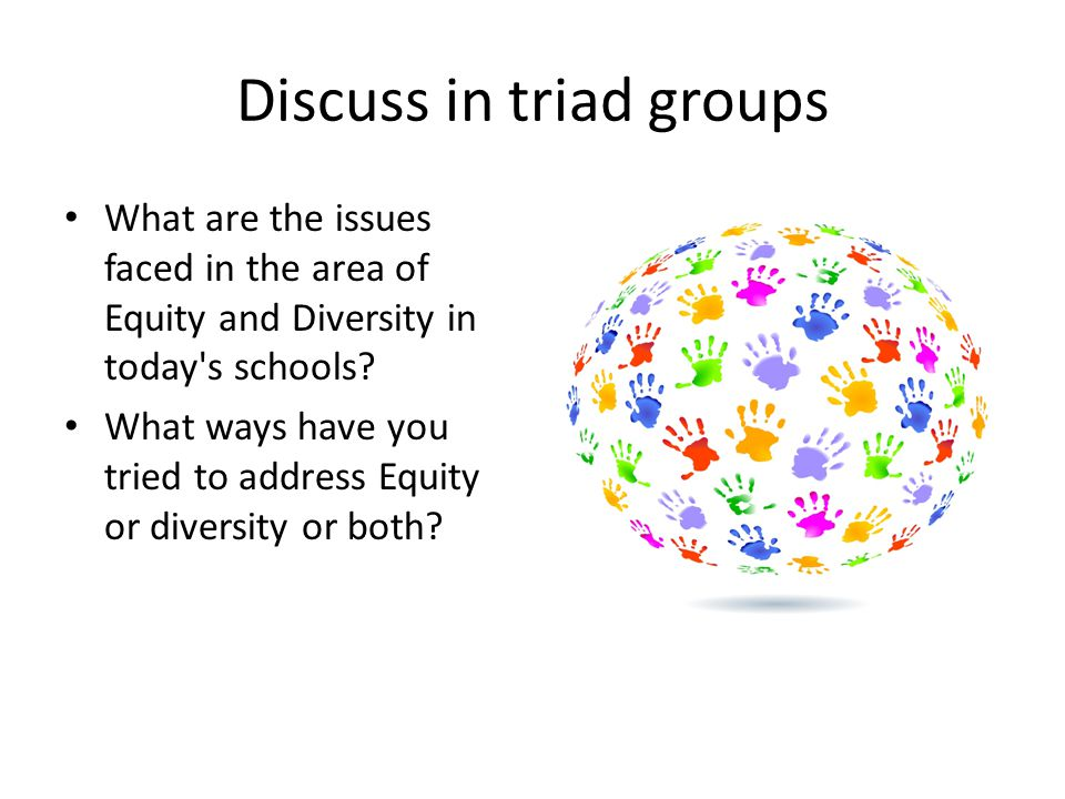 Discuss in triad groups What are the issues faced in the area of Equity and Diversity in today s schools.