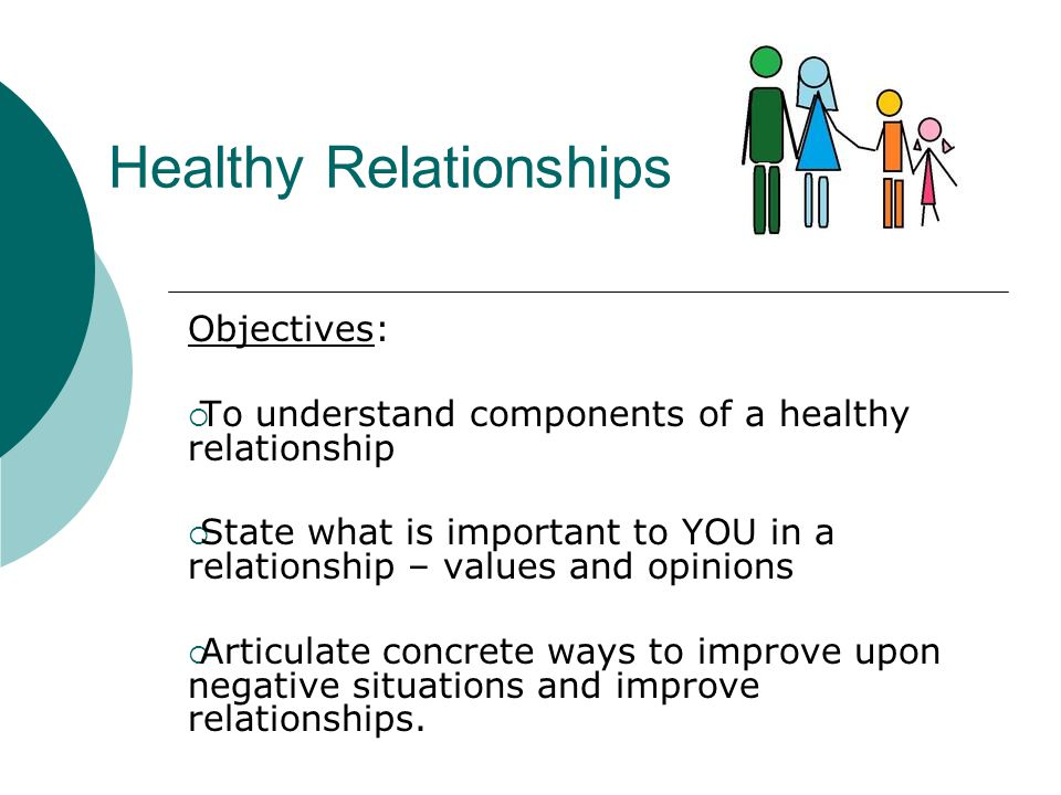 Healthy Relationships Objectives:  To understand components of a healthy relationship  State what is important to YOU in a relationship – values and