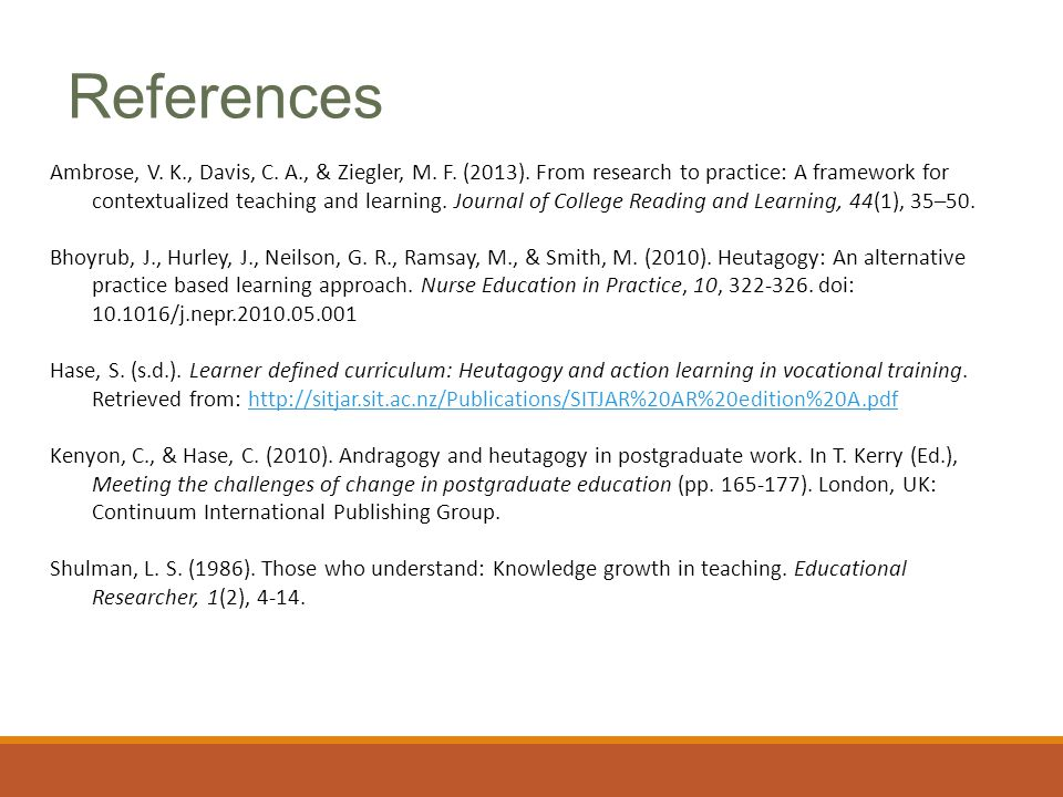 Ambrose, V. K., Davis, C. A., & Ziegler, M. F. (2013). From research to practice: A framework for contextualized teaching and learning. Journal of Col