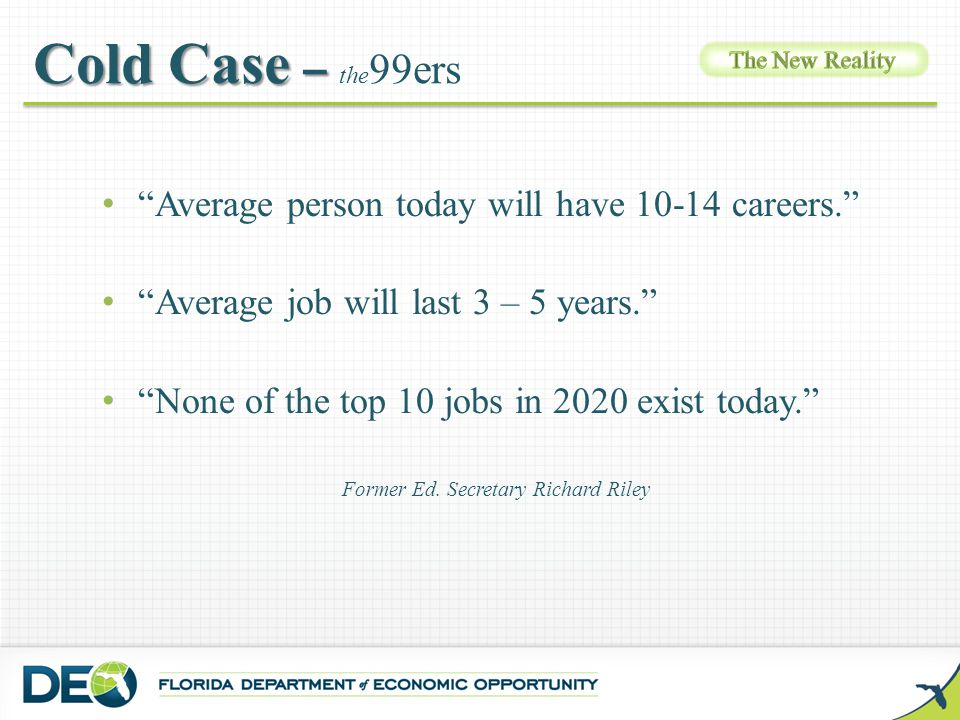 """Cold Case – Cold Case – the 99ers """"Average person today will have 10-14 careers."""" """"Average job will last 3 – 5 years."""" """"None of the top 10 jobs in 202"""