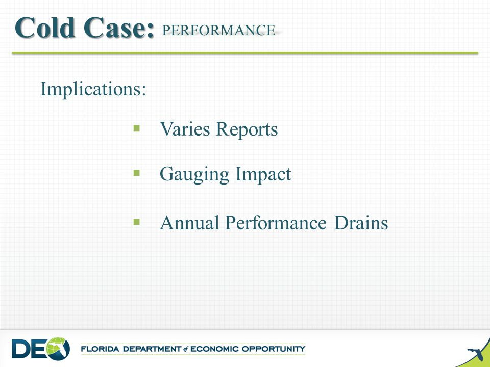 Implications:  Varies Reports  Gauging Impact  Annual Performance Drains