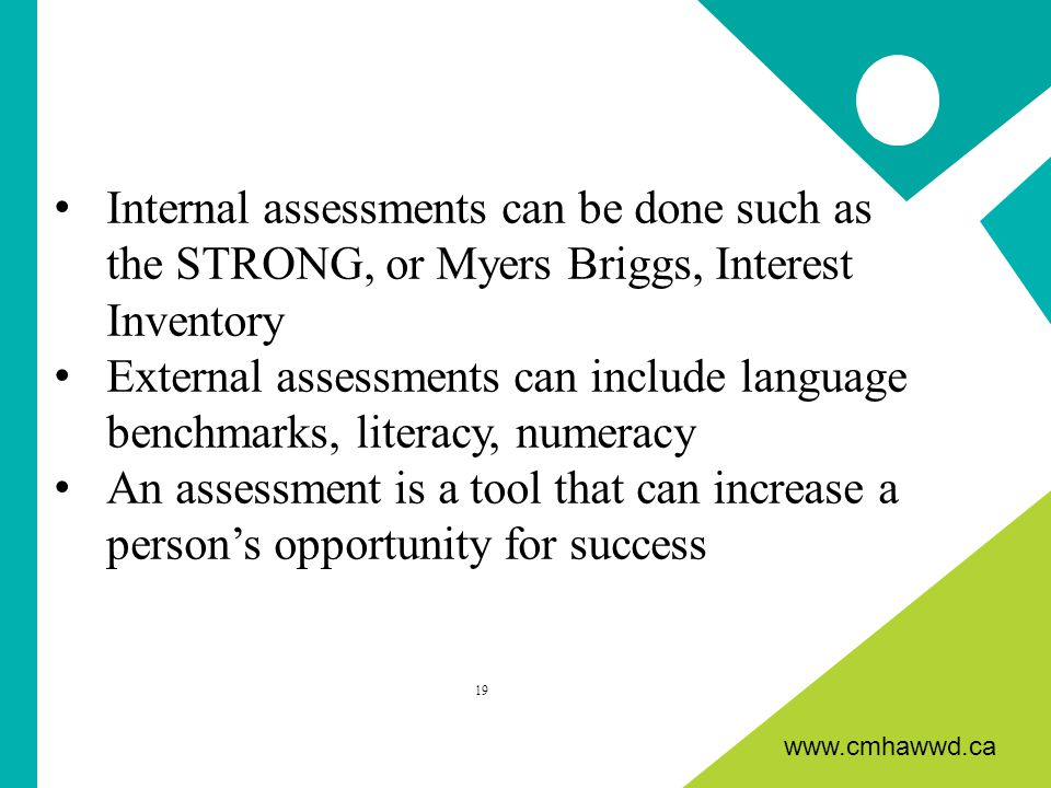 www.cmhawwd.ca Internal assessments can be done such as the STRONG, or Myers Briggs, Interest Inventory External assessments can include language benchmarks, literacy, numeracy An assessment is a tool that can increase a person's opportunity for success 19