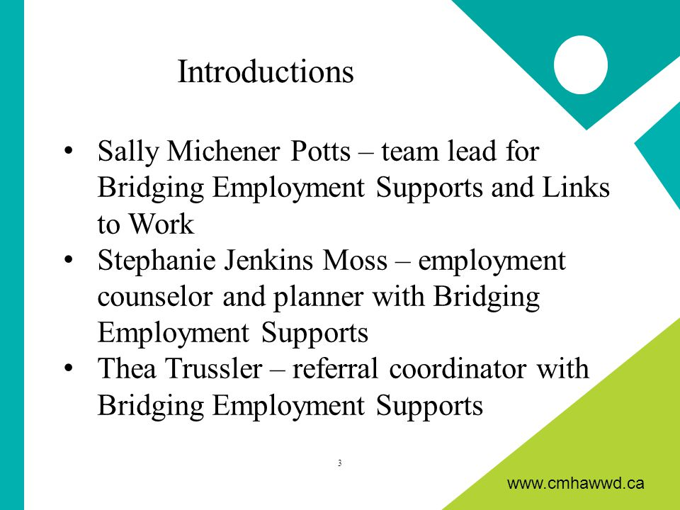 www.cmhawwd.ca Sally Michener Potts – team lead for Bridging Employment Supports and Links to Work Stephanie Jenkins Moss – employment counselor and planner with Bridging Employment Supports Thea Trussler – referral coordinator with Bridging Employment Supports 3 Introductions