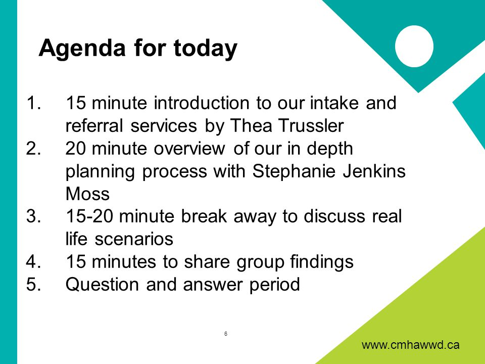 www.cmhawwd.ca Agenda for today 1.15 minute introduction to our intake and referral services by Thea Trussler 2.20 minute overview of our in depth planning process with Stephanie Jenkins Moss 3.15-20 minute break away to discuss real life scenarios 4.15 minutes to share group findings 5.Question and answer period 6