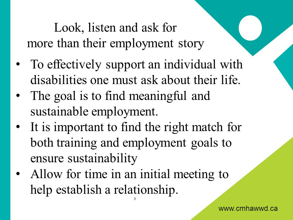 www.cmhawwd.ca To effectively support an individual with disabilities one must ask about their life.