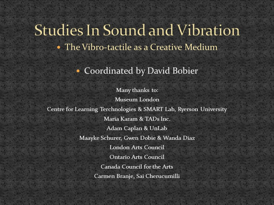 The Vibro-tactile as a Creative Medium Coordinated by David Bobier Many thanks to: Museum London Centre for Learning Terchnologies & SMART Lab, Ryerson University Maria Karam & TADs Inc.