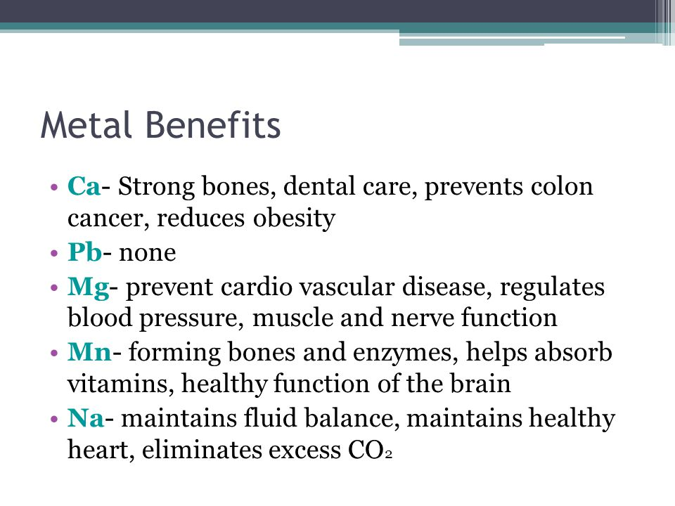 Conclusion Based on our data, a healthier dietary decision can be made concerning metal content.
