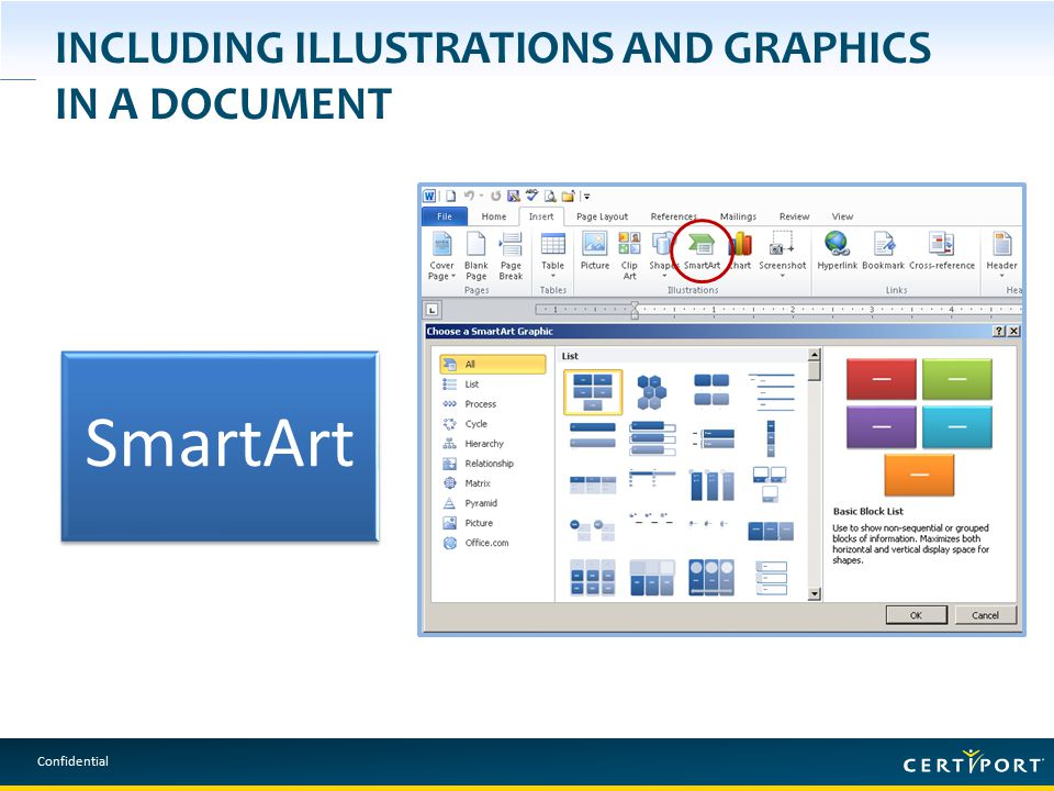 Confidential INCLUDING ILLUSTRATIONS AND GRAPHICS IN A DOCUMENT SmartArt