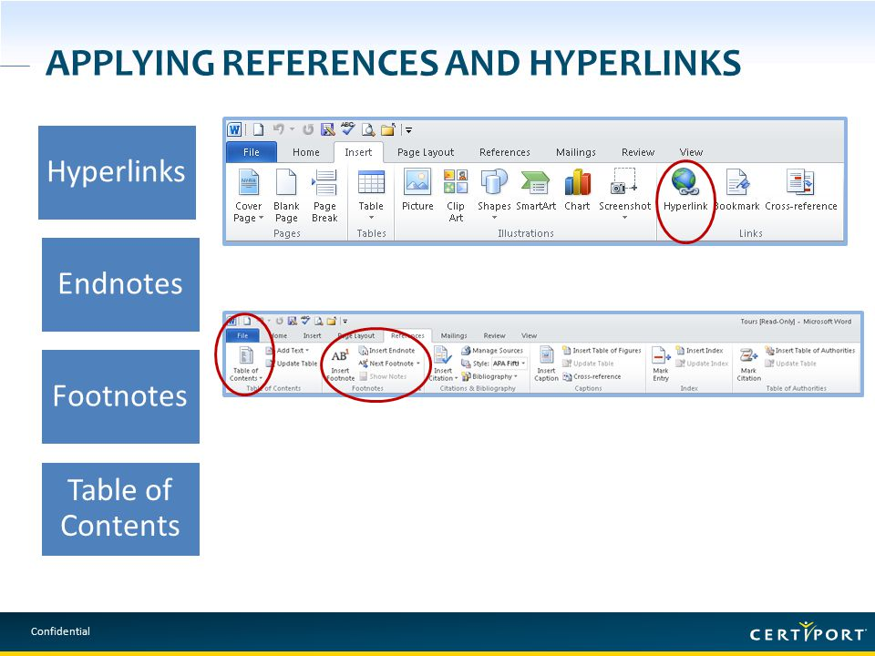 Confidential APPLYING REFERENCES AND HYPERLINKS Hyperlinks Endnotes Footnotes Table of Contents