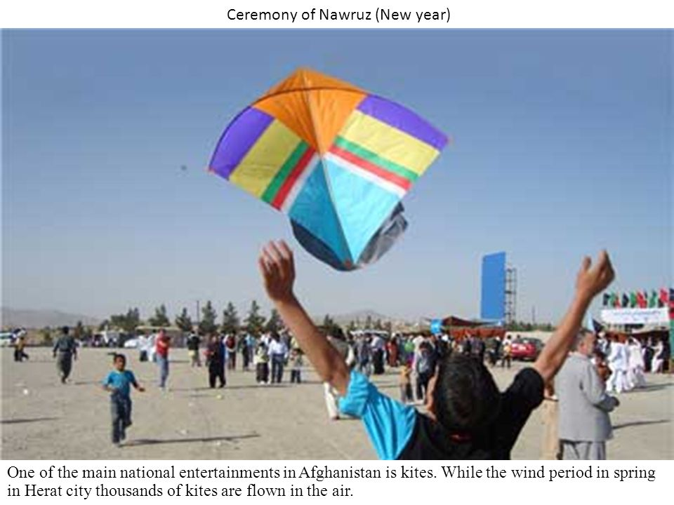 Ceremony of Nawruz (New year) One of the main national entertainments in Afghanistan is kites.