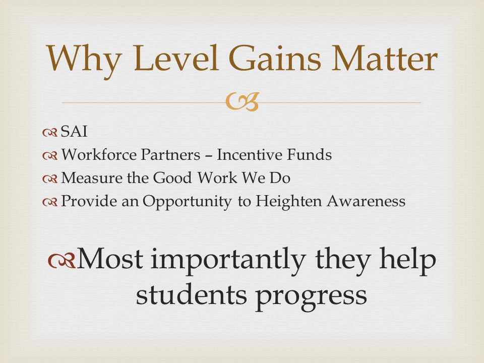   SAI  Workforce Partners – Incentive Funds  Measure the Good Work We Do  Provide an Opportunity to Heighten Awareness  Most importantly they help students progress Why Level Gains Matter