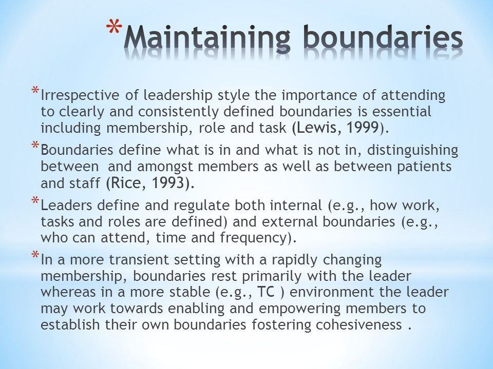 * Irrespective of leadership style the importance of attending to clearly and consistently defined boundaries is essential including membership, role and task (Lewis, 1999 ).