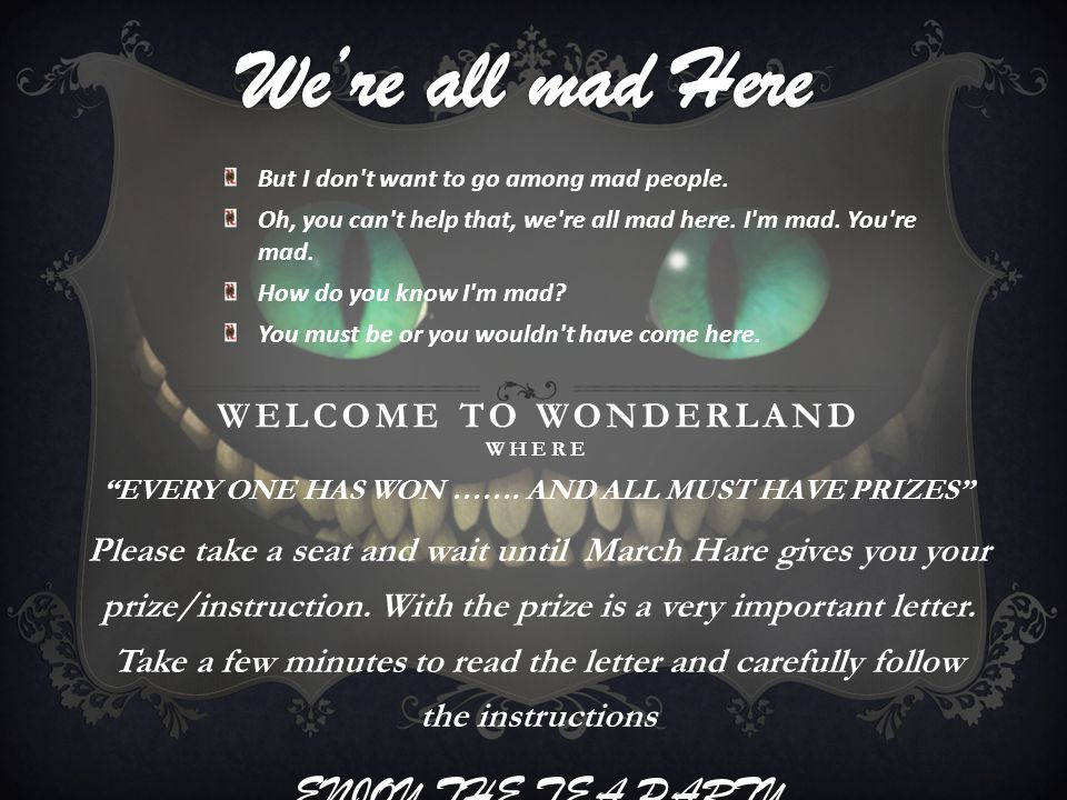 WELCOME TO WONDERLAND WHERE EVERY ONE HAS WON …….