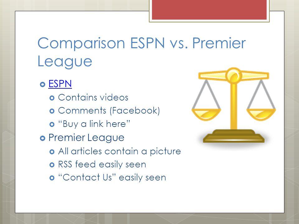 Comparison ESPN vs.