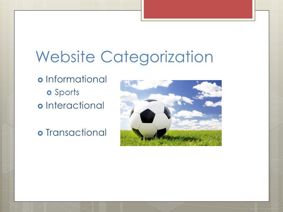 Website Categorization  Informational  Sports  Interactional  Transactional