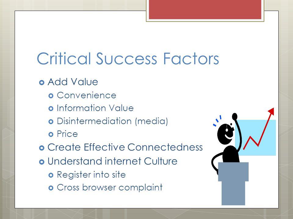 Critical Success Factors  Add Value  Convenience  Information Value  Disintermediation (media)  Price  Create Effective Connectedness  Understand internet Culture  Register into site  Cross browser complaint