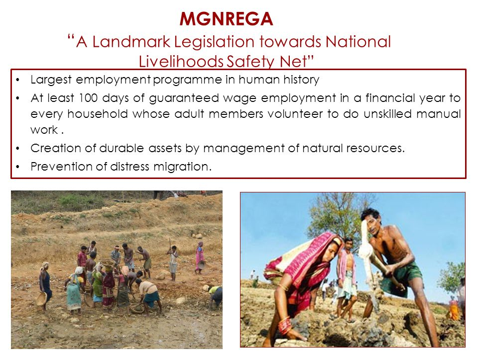 MGNREGA A Landmark Legislation towards National Livelihoods Safety Net Largest employment programme in human history At least 100 days of guaranteed wage employment in a financial year to every household whose adult members volunteer to do unskilled manual work.