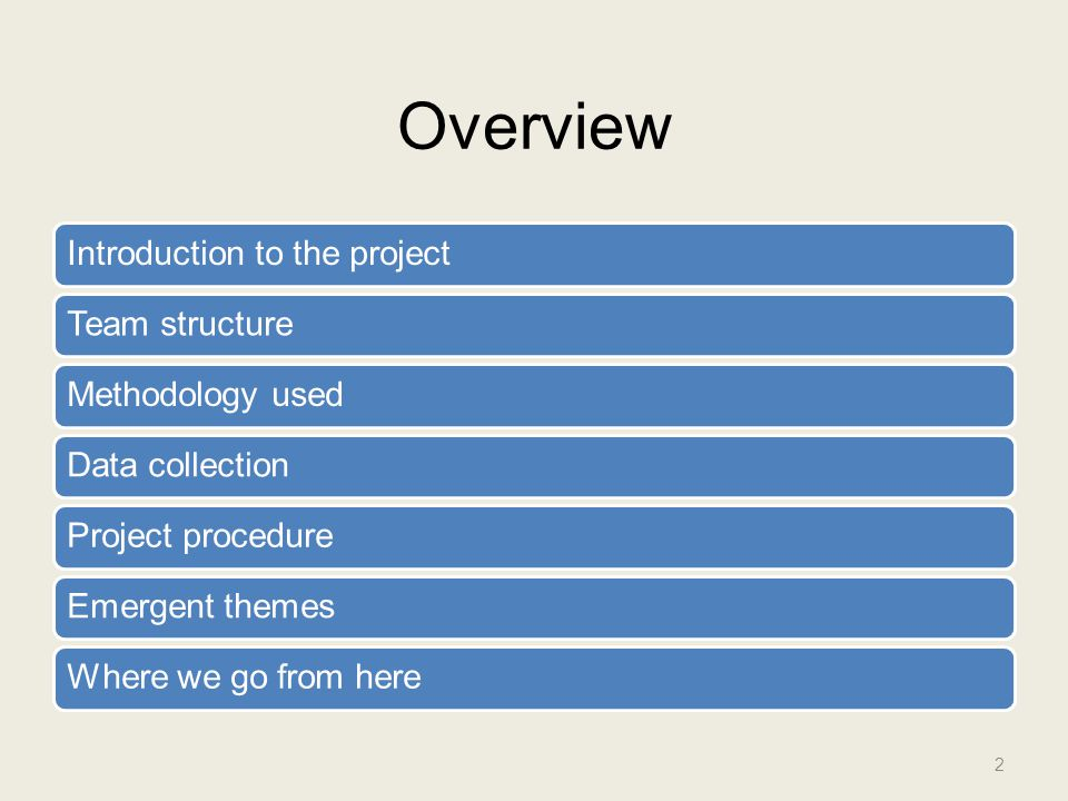 Overview Introduction to the projectTeam structureMethodology usedData collectionProject procedureEmergent themesWhere we go from here 2