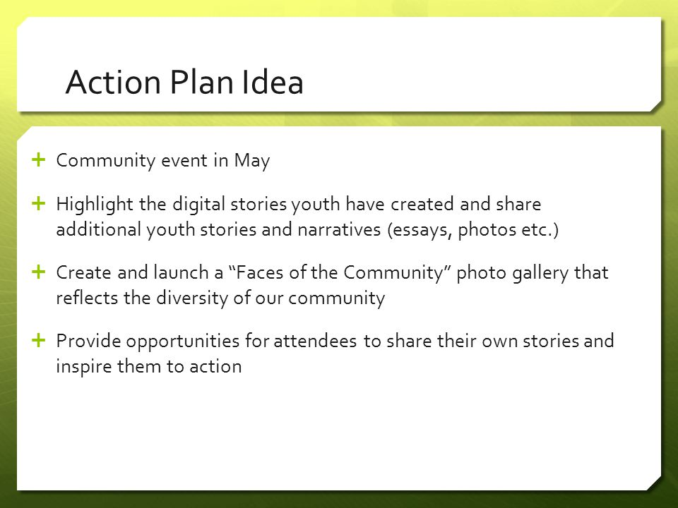 Action Plan Idea  Community event in May  Highlight the digital stories youth have created and share additional youth stories and narratives (essays